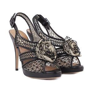 Valentino Chiffon Rose Slingback Heel